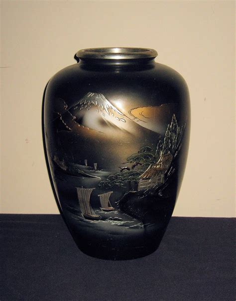 Japanese Bronze Vases by Large Japanese Bronze Vase With Mt Fuji From