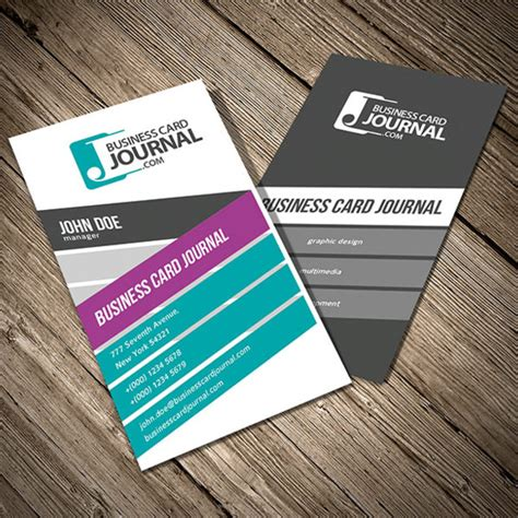 colorful vertical business card template free vector in