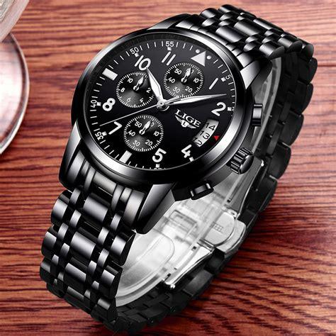 lige jam tangan kasual pria stainless steel  black