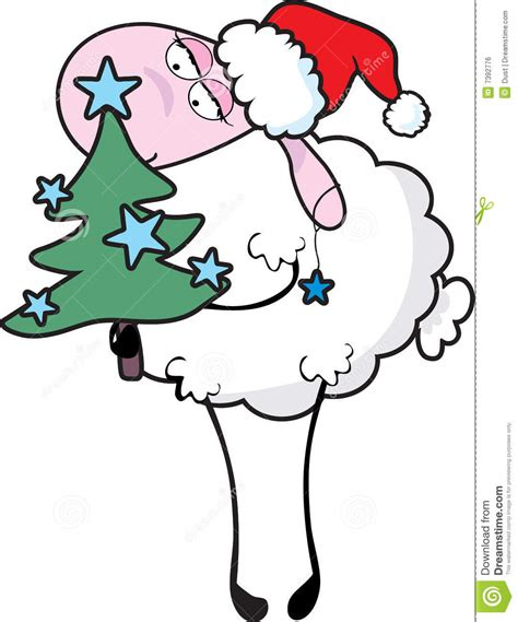sheep with christmas tree stock vector image of curiosity