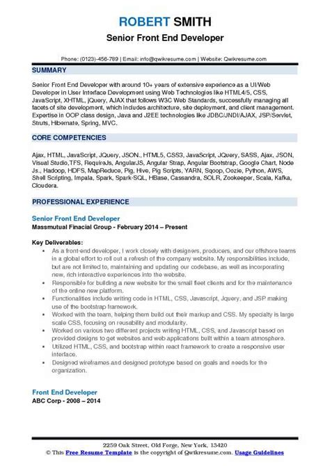 Front End Developer Resume by Front End Developer Resume Sles Qwikresume