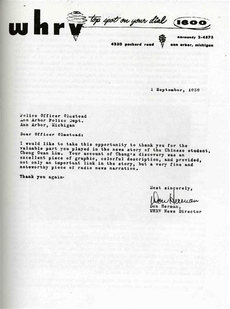 Letter Radio Station Letter Of Appreciation To Arbor Department From Radio Station Whrv September 1950