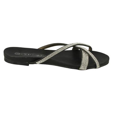 open back flat shoes spot on diamante flat sandals slip on open back