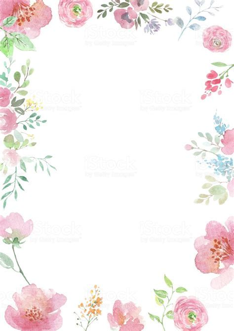 Watercolor Flowers Background With Floral Ornaments
