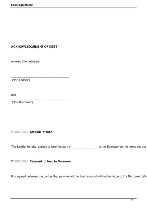 Letter Of Agreement Between Lender And Borrower loan agreement