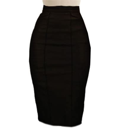 black pencil skirt with back knife pleat detail
