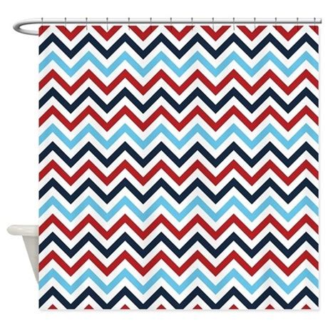 red white blue shower curtain red white and blue zig zags shower curtain by colorfulpatterns