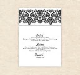 free printable wedding menu card templates 8 best images of printable menu cards for weddings