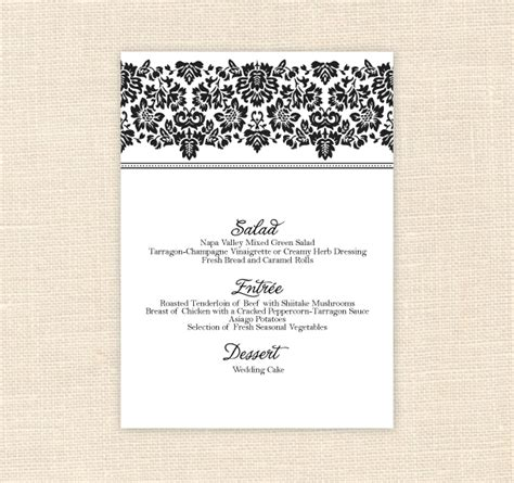 8 best images of printable menu cards for weddings