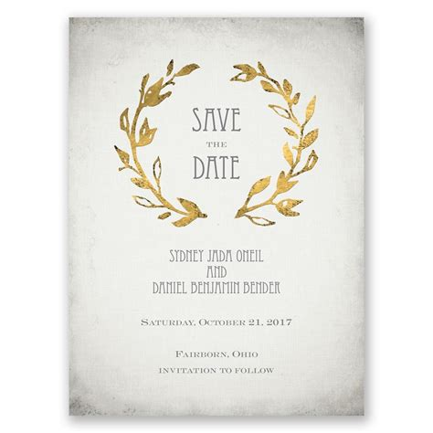 free save the date card templates gold theme leaves of gold save the date card invitations by