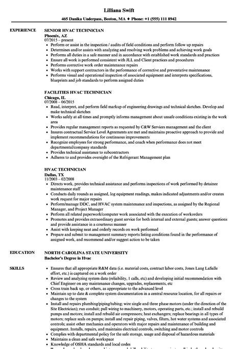 hvac installer resume exles hvac technician resume sles velvet