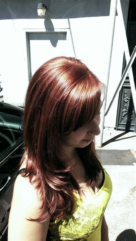 rusk hairstyles golden copper hair using rusk deepshine highlight color 7
