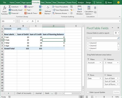 Filter Pivot Table by Dynamic Chart Of Accounts Journal Ledgers In