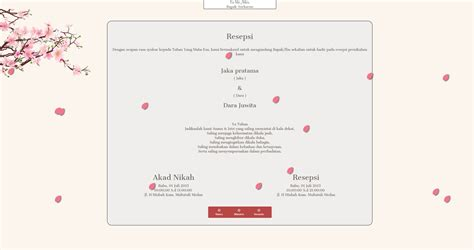 desain undangan resepsi pernikahan desain undangan online sakura animated wedding theme