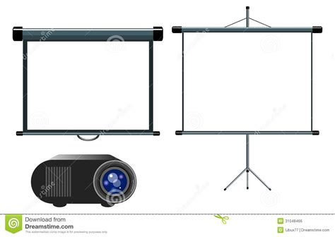 3d Home Design No Download Projector And Blank Projector Screen Royalty Free Stock