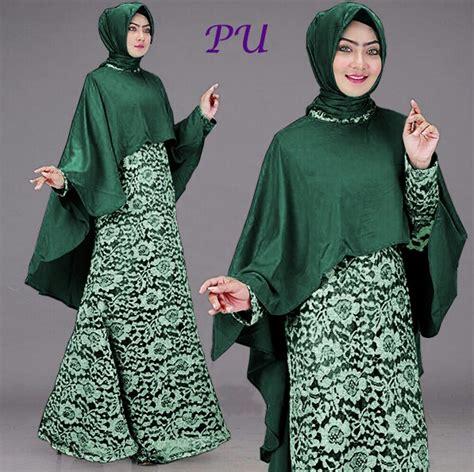 Gamis Baju Muslim Pesta Wanita Hijau model gaun pesta brokat hijau model gaun pesta brokat