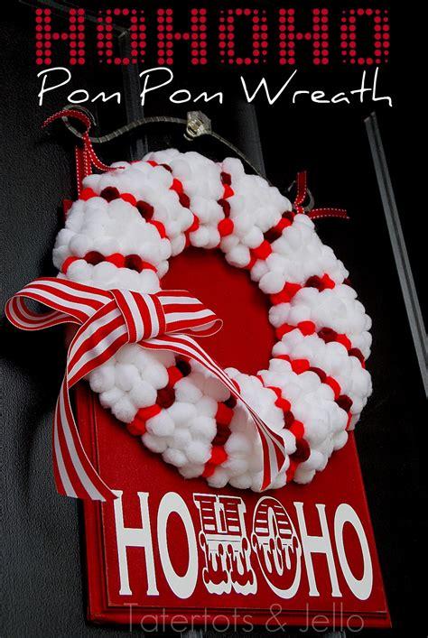 christmas dyed pom pom wreath holiday tutorial tatertots  jello