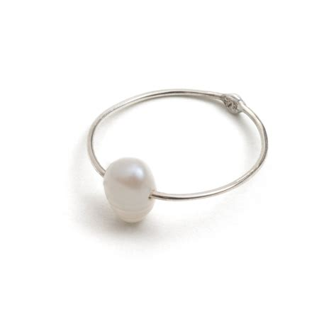 sterling silver pearl line ring jewellery
