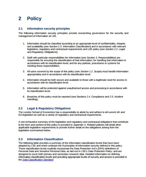 10 It Security Policy Templates Sle Templates It Security Policy Template