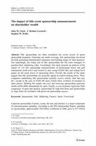 Promotion Event Letter The Impact Of Title Event Sponsorship Announcements On Shareholder Wealth Springer