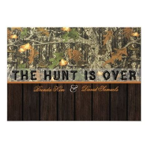 The Hunt Is Over Camo Wood Wedding Invitation   Zazzle.com
