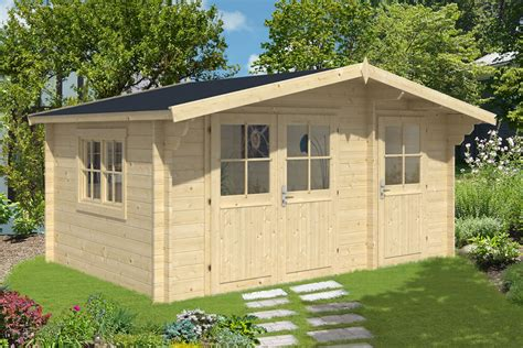 Shed Log Cabin by Lukas 34mm Log Cabin With Shed