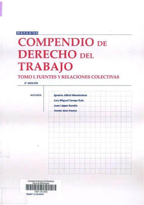 descargar libros de derecho laboral derecho del trabajo derecho laboral compendio de derecho del trabajo tomo i