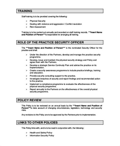 security policy document template backup policy template pdf templates resume exles
