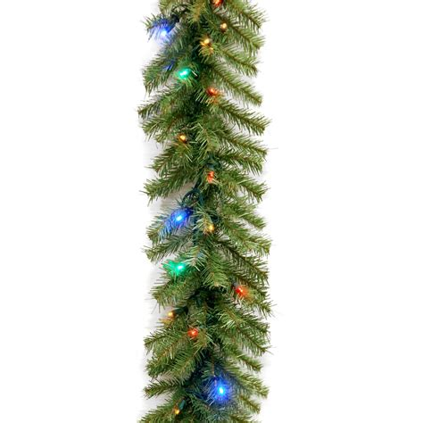 9 ft norwood fir pre lit led garland battery operated