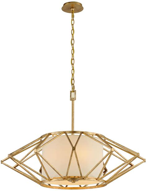Troy F4865 Calliope Modern Rustic Gold Leaf Large Hanging Modern Rustic Pendant Lighting