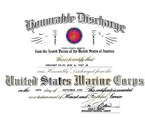 honorable discharge certificate template i received a bad conduct discharge from the marine corps