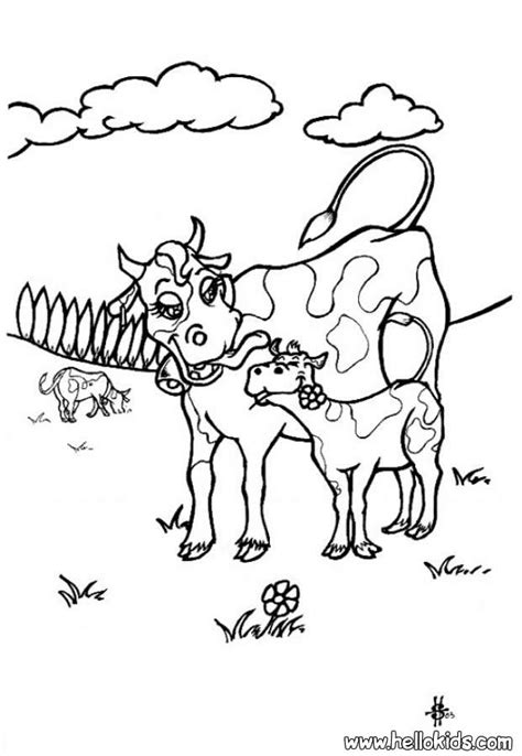coloring pages of cow and calf cow with calf coloring pages hellokids com