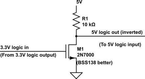 pull resistor value 5v level shifting step up 3 3v to 5v for digital i o electrical engineering stack exchange