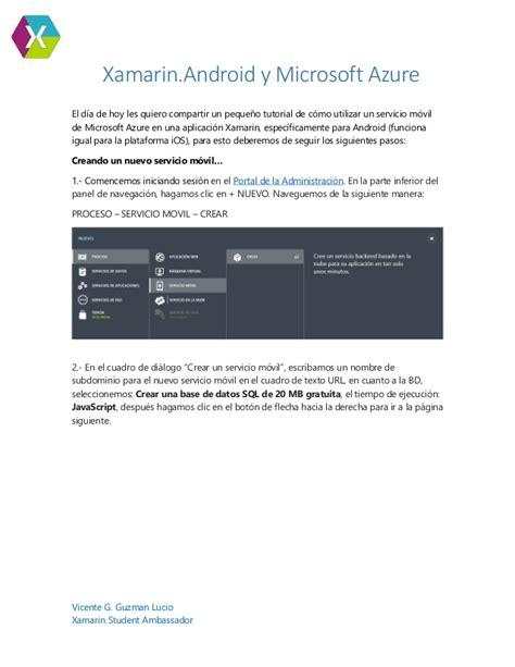 Xamarin Azure Tutorial | xamarin android microsoft azure