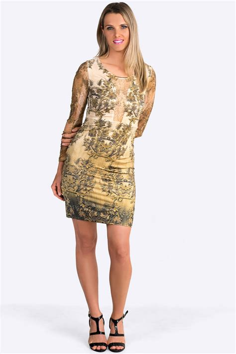 Print Sleeve Dress antique gold print dress with lace sleeves claddio