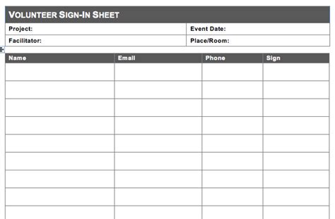 free volunteer sign in sheet template volunteer sign in sheet template free spreadsheet templates