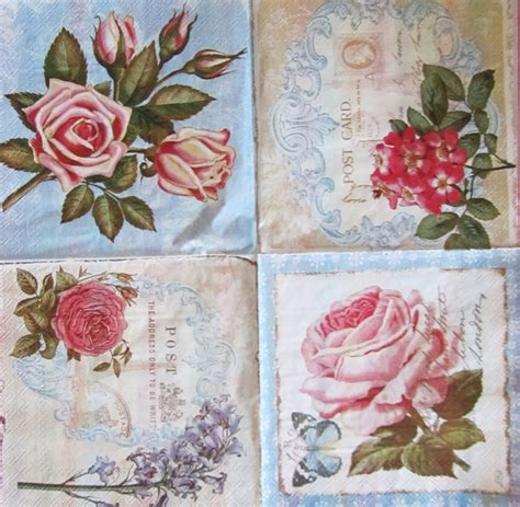10 shabby chic rose paper napkins decoupage 4 images per napkin new cocktail sz ebay