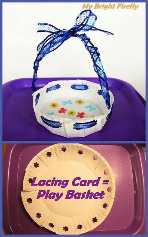 Paper Plate Basket Craft - lacing card paper plate craft for preschoolers gold