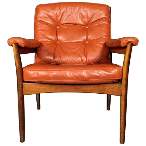 g 246 te m 246 bler n 228 ssj 246 orange leather armchair sweden 1970