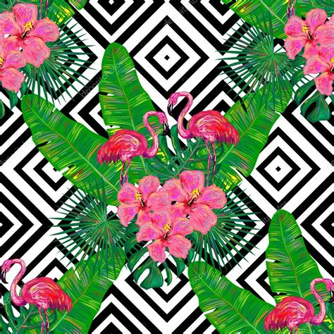 pattern tropical vector summer tropical pattern with flamingo stock vector