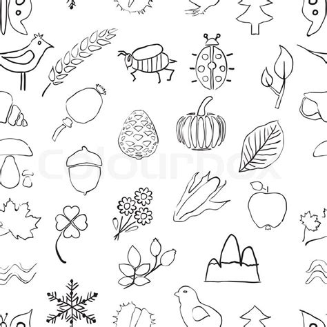 doodle nature doodle seamless nature pattern stock vector colourbox