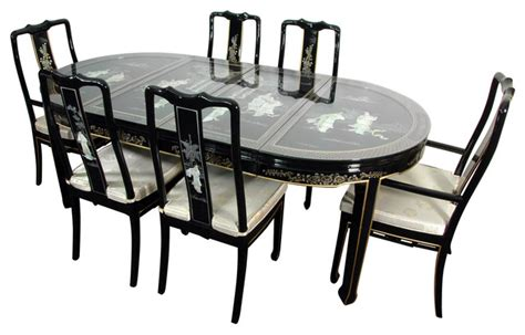 lacquer dining room set black of pearl asian
