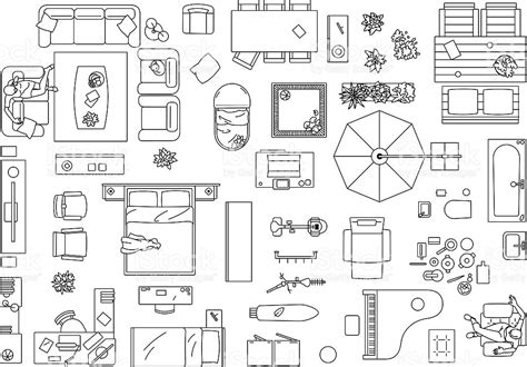 furniture icons for floor plans furniture floor plan stock vector art 512186997 istock