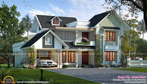 angled roof sloping roof house villa design kerala trends with roofs