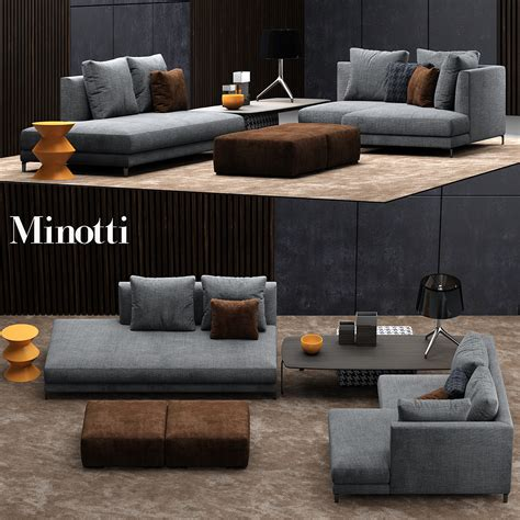minotti sectional minotti allen sofa 3d model