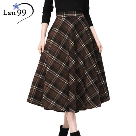 thick winter maxi plaid skirts 2016 woolen plaid