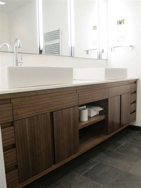amazing brown solid plywood custom floating vanity with