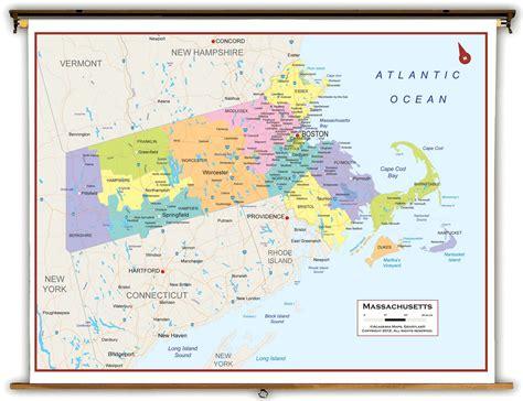 massachusetts political map massachusetts state political classroom map from academia maps