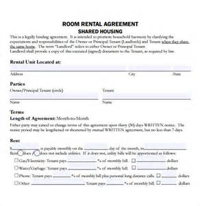 Application For Room Rental by Sle Residential Rental Agreement 12 Exles Format