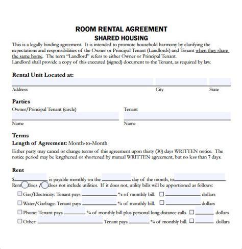 room rental contract room rental agreements printable sle simple room rental agreement form more printable sle